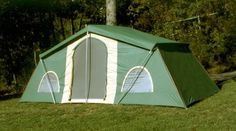 "Trek Tents 10 x 20' 3-room Cabin Tent has space for everyone! There's a room for you, for the kids and for the in-laws... sorry, now there's no excuse not to take them on your next camping trip. Large 3-room family Tent has a full 200 sq. ft. of space with 5 windows that provide plenty of ventilation. Double roof rain-fly adds insulation in both hot and cool weather. Details: Tall 90"" center height and 60"" wall height; Walls are high-count UV-resistant polyester; Roof is oxfo"
