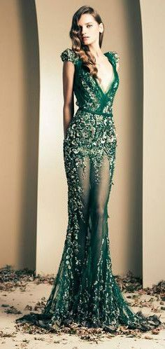 green evening dress #gown #party #prom