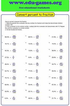 The worksheet maker generates worksheets for converting percentages into fractios. Fractions Worksheets, Printable Math Worksheets, Reading Worksheets, Worksheets For Kids, Decimal Multiplication, Free Printable, Math Addition, Addition And Subtraction, Math Classroom