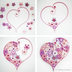 Quilling Flower Heart Shape ~ this is so pretty.  I love this and so easy to make!