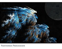 "Feathered Progression was generated from a blue, rust and brown fractal image. It was  semi-randomly mutated to create the ""feathers""."