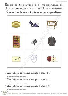 Dans les fiches de travail « Positions bloc objet (9 blocs) » l'élève doit retenir les positions de chacune des images dans les blocs pour pouvoir répondre aux questions lorsque les images ne sont plus visibles.