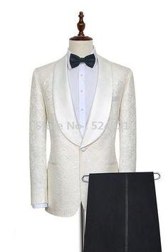 New Arrival Groomsmen Ivory Groom Tuxedos Shawl Brown Lapel Men Suits Wedding/Prom Best Man Blazer ( Jacket+Pants+Tie ) New Mens Suits, Dress Suits For Men, Mens Suit Vest, Mens Fashion Suits, Men Dress, Fashion Vest, Men's Suits, Fashion Boots, Tuxedo Wedding