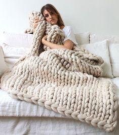 Manta de lana punto xxl crudo