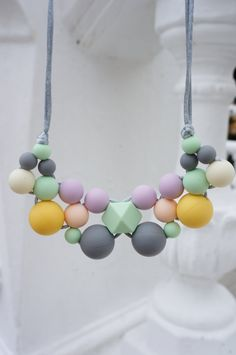 Bubble Exposed Cord Necklace - Silicone Teething Necklace