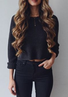 Fall - Black Knit Crop Top and Black High Waisted Skinny Jeans
