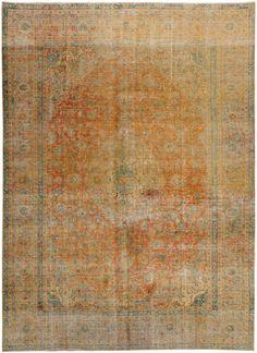 Golden Brown Persian Antique Vintage Rug 9' 2