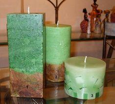 Trio de velas maciças, sendo uma trabalhada em mosaicos e as outras duas marmorizadas com decoupage na barra, aromatizada. Candle Pics, Candle Art, Candle Lanterns, Pillar Candles, Green Candles, Candle Maker, Candlemaking, Best Candles, Christmas Candles