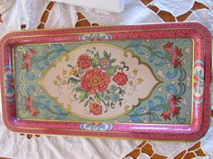 Daher Tray Vintage Rectangle Platter With Pink par TICTAC1212