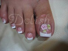 French Pedicure w/h design #PedicureIdeas