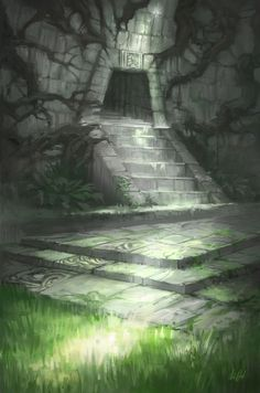 Jungle Temple by Nele-Diel cave stairs dungeon entrance doorway landscape location environment architecture | Create your own roleplaying game material w/ RPG Bard: www.rpgbard.com | Writing inspiration for Dungeons and Dragons DND D&D Pathfinder PFRPG Warhammer 40k Star Wars Shadowrun Call of Cthulhu Lord of the Rings LoTR + d20 fantasy science fiction scifi horror design | Not Trusty Sword art: click artwork for source