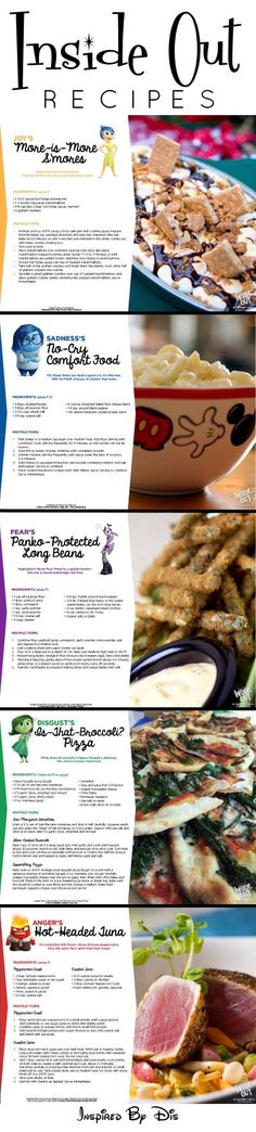 Celebrating Disney/Pixar's INSIDE OUT with free printable activity sheets and yummy recipes, including everyone's favorite, broccoli pizza! Disney Themed Food, Disney Inspired Food, Disney Food, Disney Recipes, Disney Dishes, Dinner And A Movie, Dinner Themes, World Recipes, Food Themes