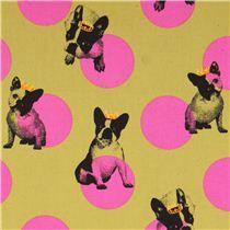olive green pug dogs & dots Canvas fabric Kokka Japan