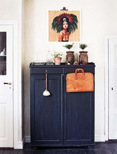 Indigo blue Vintage highboy | Vintage art | worn in natural leather bag