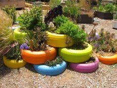 Jardim com Pneus #reciclagem