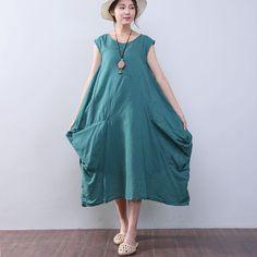 5eba0112eff Irregular Loose Summer Women Cotton Sleeveless Green Dress