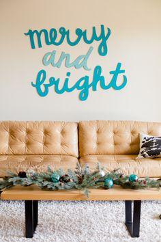 "DIY winter wall art decoration ""merry and bright"" tutorial from Paper & Stitch Christmas Time Is Here, Noel Christmas, All Things Christmas, Xmas, Christmas Ideas, Classy Christmas, Christmas Lights, Vintage Christmas, Modern Christmas Decor"