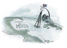 DE LOS CUBANOS  En las profundidades siempre se halla. Eso pueden decir los cubanos ahora tras revelarse esta semana el hallazgo de cuatro pozos petroleros en su zona económica exclusiva en las aguas territoriales en el Golfo de México. Según la empresa estatal Unión Cuba Petróleo (Cupet) existen 59 bloques con entre 5,000 millones y 22,000 millones de barriles. El descubrimiento se da en medio de una crisis derivada del disloque económico en Venezuela. Ilustración de Miguel Bayón.