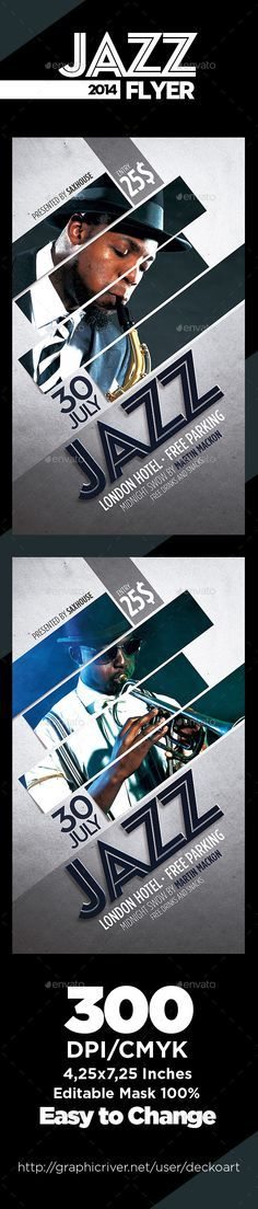 Jazz Flyer Template PSD | Buy and Download: http://graphicriver.net/item/jazz-flyer/9094377?WT.ac=category_thumb&WT.z_author=deckoart&ref=ksioks Poster Design, Ad Design, Layout Design, Print Design, Banner Design Inspiration, Image Layout, Jazz Poster, Music Flyer, Swiss Design