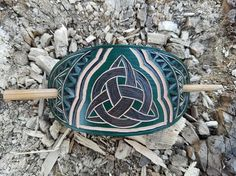 Green Triquetra hand carved hair barrette