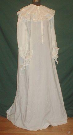 1890's white cotton nightgown.  x