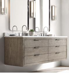 RH Modern White oak Floating Vanity