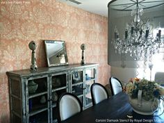 The Corsini Damask Stencil looks graceful and elegant with an ethereal color scheme in a chic dining room - Royal Design Studio wall stencils for DIY decorating and home decor