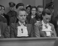 "Irma Grese Defendant number 9, Irma Grese, dubbed the ""Beast of Belsen"" was convicted for crimes against humanity at the Belsen Trial and sentenced to death. She had been employed at various Nazi concentration camps including Auschwitz and Belsen. At her trial survivors provided detailed testimony of murders, tortures, and other brutal behaviour towards prisoners, especially women. She was 22 years old when she was executed."