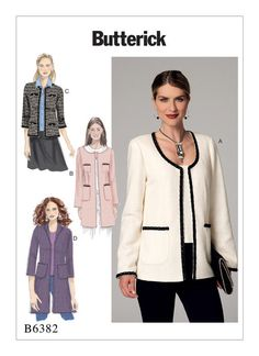 Butterick sewing pattern B6382: Misses' Open-Front Jackets with Patch Pockets. Couture-style.