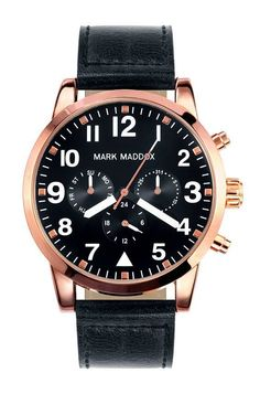 Mark Maddox 'Aviator Look' Look Rose, Pandora, Bracelet Cuir, Color Negra, Chronograph, Black Gold, Rose Gold, Watches, Jewelry