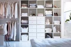 Decoration. Best Design Of Closet Organizers Ikea With Exciting Style Looked Elegant: Beautiful Design Of Closet Design Organizer With White Storage And White Cabinet With Bets White Floor And White Glass Window Also With White Wall And White Quilt Bed In
