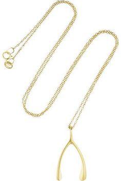 18-karat gold wishbone necklace #accessories #women #covetme #jennifermeyer