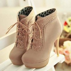Czech Rhinestones stiletto heel two ways of wear style beige shoes High Heel Boots Dream Shoes, Crazy Shoes, Me Too Shoes, Women's Shoes, Shoe Boots, Ankle Boots, Tan Boots, Leather Boots, Shoes Style