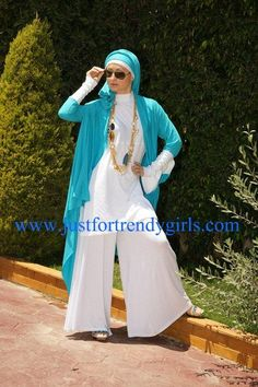 blue with white wide legged pants