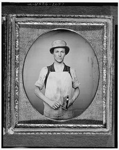 Occupational portrait of a latchmaker, c. 1850-60. Daguerreotype collection (Library of Congress).