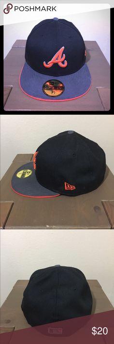 Atlanta Braves New Era Fitted Hat Black & Orange Atlanta Braves New Era Fitted Hat Black & OJ sz 7 1/4 New Era Accessories Hats