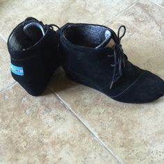 Toms Wedges Black wedges maybe worn 2 times. TOMS Shoes Ankle Boots & Booties