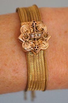 Victorian gold mesh slider belt bracelet