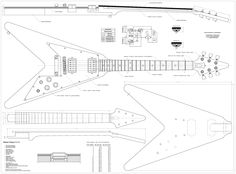 Set of 4 Electric Guitar Plans - Gibson Flying - V, Gibson Explorer, Gibson Les Paul, and Ibanez JEM777 --- Full Scale - Actual Size- Making Guitar or Framing BUY ONLY FROM SPIRIT FLUTES -