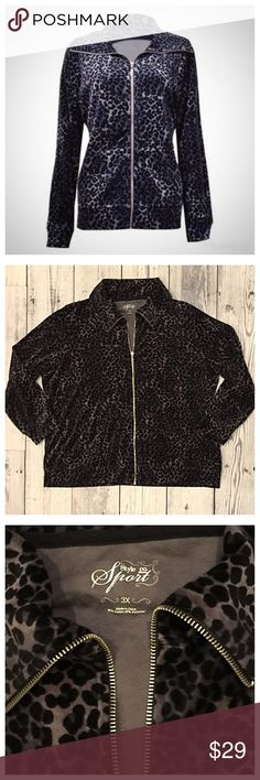 Style & Co. Sport Animal Print Velour Zip-up ✨ NWOT - Style & Co. Sport Animal Print Velour Zip-up Jacket. dark Grey and Black. Soft with Silver zipper. Style & Co Jackets & Coats