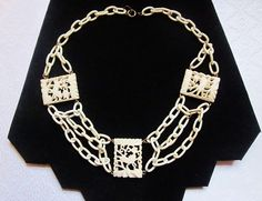 Art Deco Necklace Celluloid Chain Carved Bone by IfindUseekVintage, $65.00
