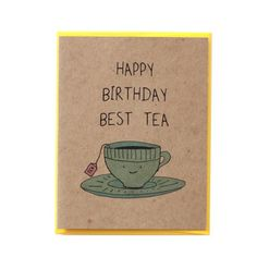 Say happy Birthday to your best tea with this ultra cute teacup birthday card. Card is printed on 100% recycled kraft cardstock and comes with a bright yellow envelope (also 100% recycled). Design is