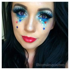4th of July makeup forth of July red white and blue