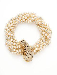Vintage Leopard & Pearl Multi-Strand Necklace by Kenneth Jay Lane