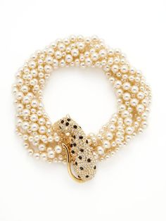 Vintage Leopard & Pearl Multi-Strand Necklace by Kenneth Jay Lane