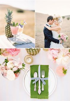 """Green napkins with white linens against pink florals (AQ decor.) Can add """"papaya"""" accents."""