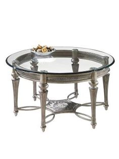 galloway traditional subtle gold glass cast resin round cocktail table - Macys Coffee Table