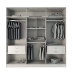 Complete your living space with the superb organizational capabilities of this contemporary four-drawer freestanding armoire. Wearing a white gloss finish, this spacious armoire offers nine shelves and enough space to hang your clothes. White Wardrobe, Wardrobe Furniture, Wardrobe Design Bedroom, Diy Wardrobe, Wardrobe Cabinets, Bedroom Furniture Design, Bedroom Wardrobe, Armoire Wardrobe, Modern Wardrobe