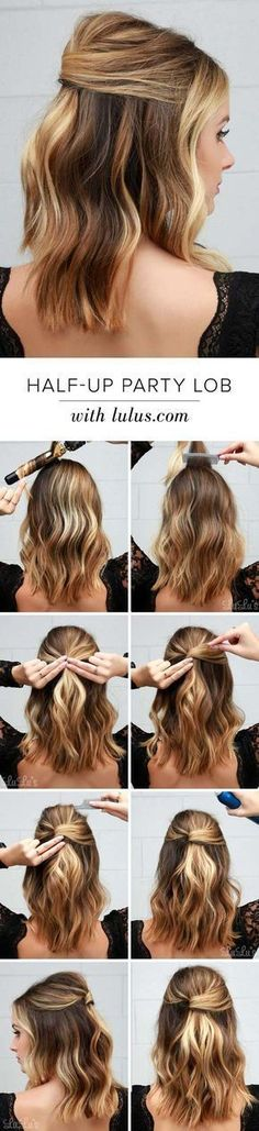 Cool and Easy DIY Hairstyles - Half Party Lob - Quick and Easy Ideas for Back to School Styles for Medium, Short and Long Hair - Fun Tips and Best Step by Step Tutorials for Teens, Prom, Weddings, Special Occasions and Work. Up dos, Braids, Top Knots and Buns, Super Summer Looks http://diyprojectsforteens.com/diy-cool-easy-hairstyles