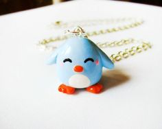 Pastel Blue Penguin Necklace Polymer Clay Charm by ...